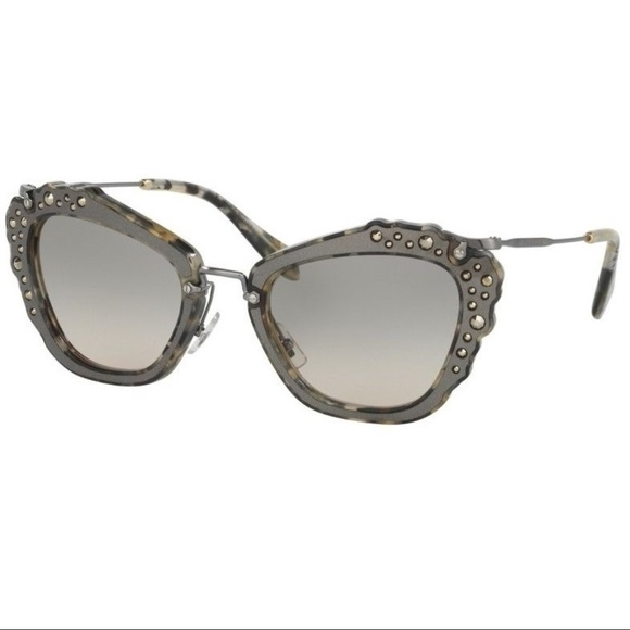 a5efdbf485 Miu Miu Sunglasses Cat Eye Embellished Stones